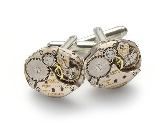Steampunk Cufflinks Vintage Gruen watch movements wedding anniversary Grooms Gift silver cuff links men jewelry by Steampunk Nation 2171 #steampunkcufflinks #steampunkjewelry #weddingjewelry