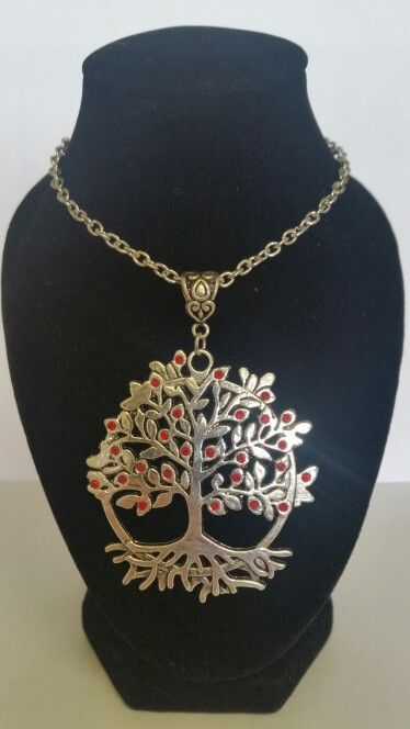 Tree of life pendant necklace. Red rhinestones. AUS $ 14.00
