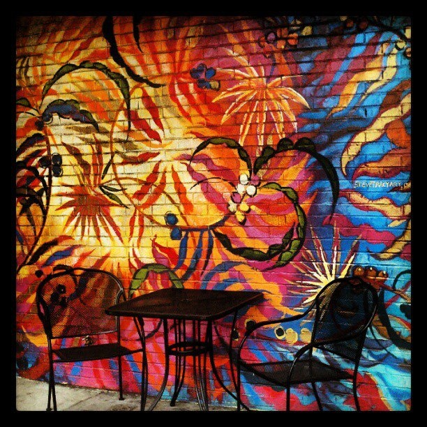 The outside wall of a Dazbog Coffee Shop in Denver, CO