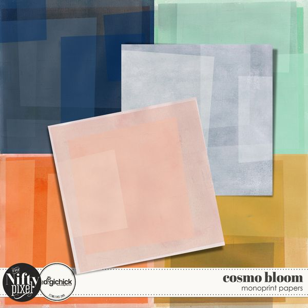 "Cosmo Bloom Painted Papers by The Nifty Pixel These gorgeous papers are hand made mono prints. They have been digitally altered to create some lovely layered depth of colour. Each one has unique striations and textures typical of pulling passes when printmaking. These are great to add a more arty quality to your digital scrapbooking and would be perfect for Mixed Media style projects or for your digital art journaling projects.   PACK INCLUDES:  6X Handprinted Papers (12"" X 12"")"