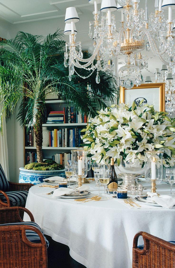 A Dramatic Centerpiece Of Casablanca Lilies In An Elegant Ralph Lauren Home Tablescape