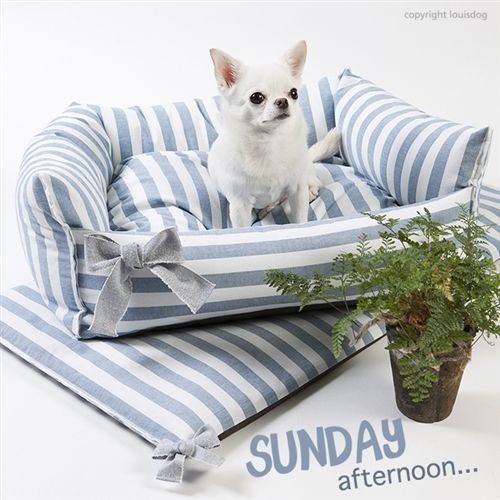 One stop shop for designer dog clothes and accessories - Louis Dog Sunday Boom Bed Shop By Designer - Louis Dog Collection - Houses & Beds, pet toys, collars, carriers, treats, stunning bowls, diaper, belly bands, id tags, harnesses