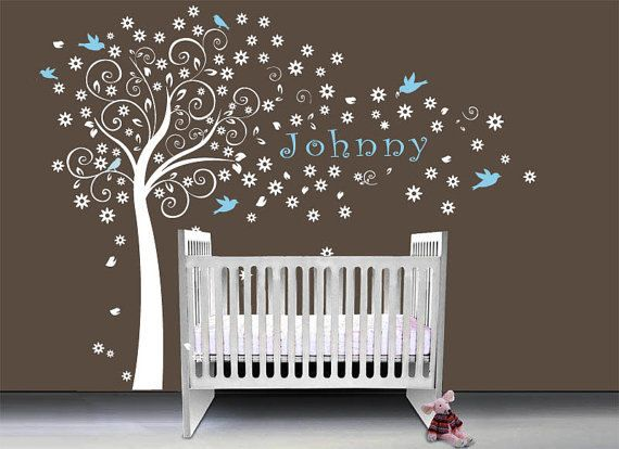 Blossom Tree Wall Decal Nursery Kids Flower Tree With Birds Decals Custom  Name Decor Bird Flowers