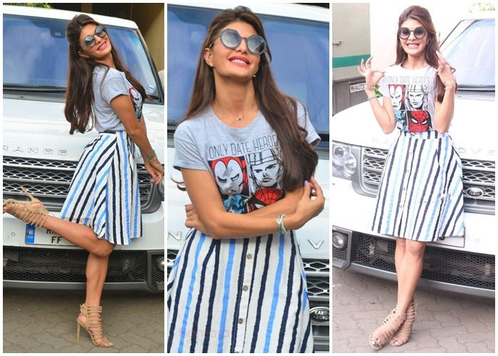Jacqueline Fernandez in stripped fit and flare dress