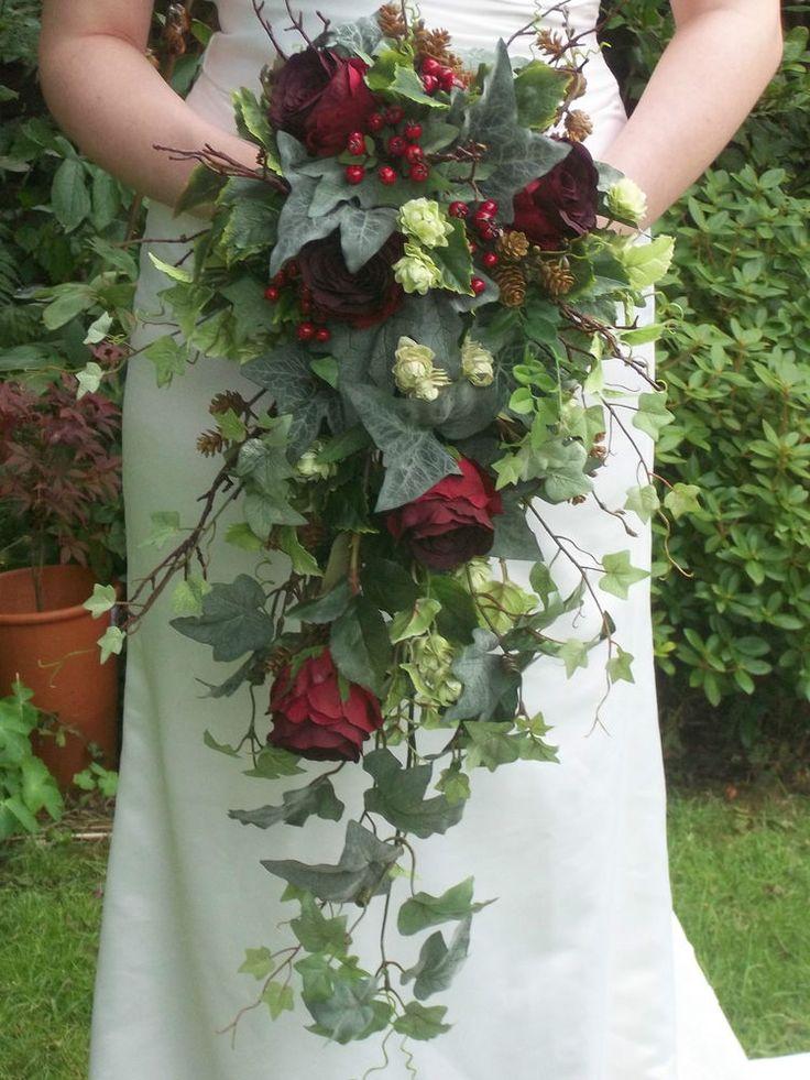 Autumn Winter Rose Christmas Hops Silk Brides Cascading Wedding Bouquet Flowers