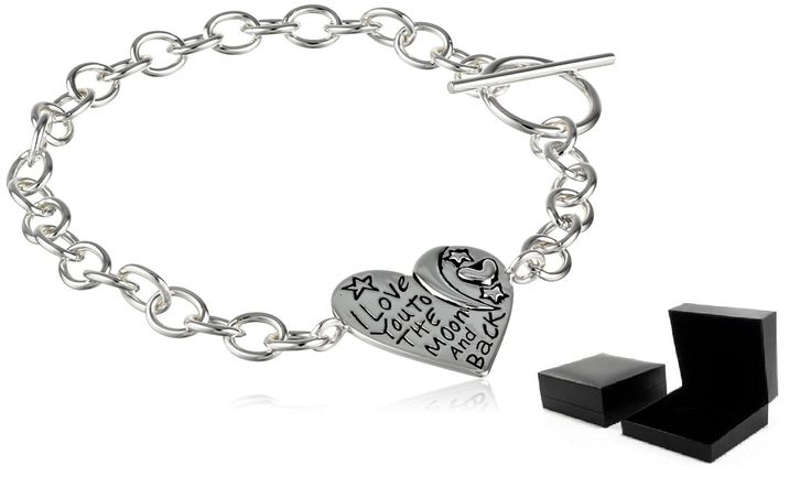 100% 925 Sterling Silver 'I Love You To The Moon and Back' Heart Toggle Bracelet…