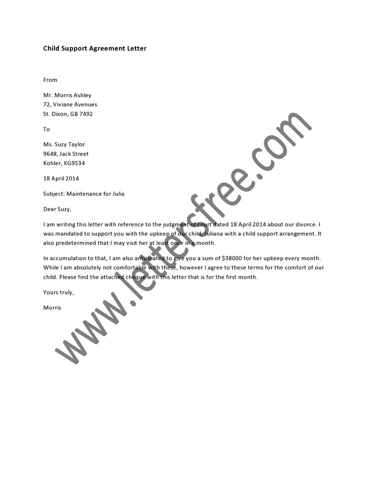 sample of child support letter 05052017
