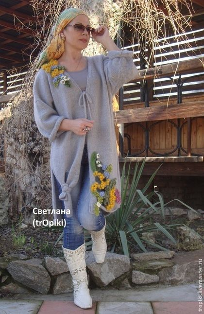 """Верхняя одежда ручной работы. Ярмарка Мастеров - ручная работа. Купить """"Ароматы весны"""" пальто вязаное. Handmade. Серый, шерсть"""