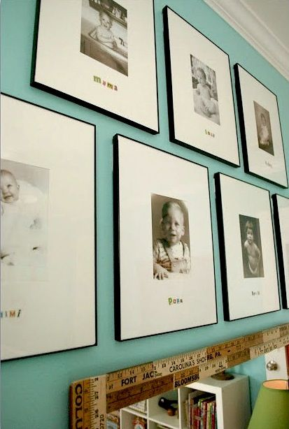 artwork in baby nursery using family baby photos.  I need to do this, but haven't gotten around to it!