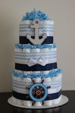 3 Tier Nautical Diaper Cake, Boy Baby Shower, Nautical, Sailboat, Anchor, Nautical Baby Shower, Baby Shower Centerpiece by belinda
