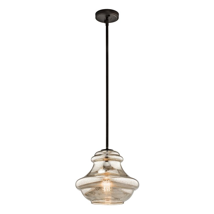 Kichler Lighting Everly 12-in Olde Bronze Vintage Hardwired Single Mercury Glass Schoolhouse Pendant