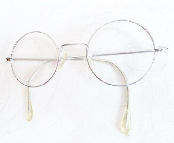 60s Lennon Round Eyeglasses SILVER wire rim by MushkaVintage3