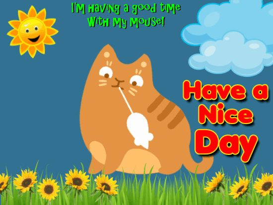 Free Online Cat Having A Nice Day Ecards On Everyday Cards
