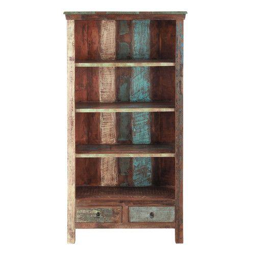 Biblioteca de madera reciclada y metal An. 96 cm