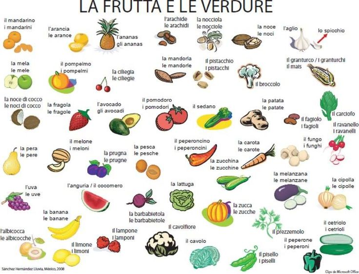 #italian la frutta e le verdure