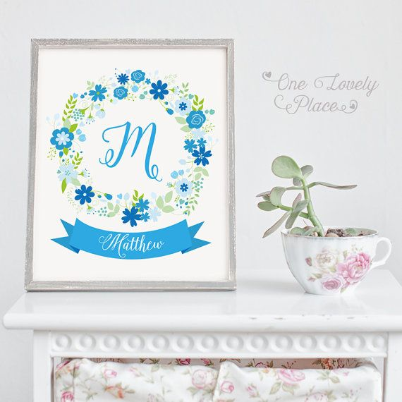 Baby monogram nursery print for baby boy. M for Matthew.  >> If you need a different name please send me a message before purchase. <<  8x10