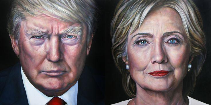 Zet je vooroordelen opzij en kies het meest geslaagde #portret! Ik ben benieuwd naar jullie mening. Gelukkig hoef ik zelf niet te kiezen tussen #HillaryClinton of #DonaldTrump. Voor mij waren het allebei even interessante koppen. Zulke heftige campagnes had #Amerika nog nooit........ ik leg de de kwast er maar eens bij neer! #presdentialelections2016 #clintonvstrump #saskiavugtsportretschilder #USA #olieverfschilderij #portretinopdacht #portrait #oil #paint #painting #portraitist #art