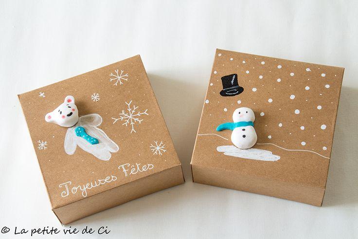 Des boîtes décorées pour Noël avec de la fimo et des posca