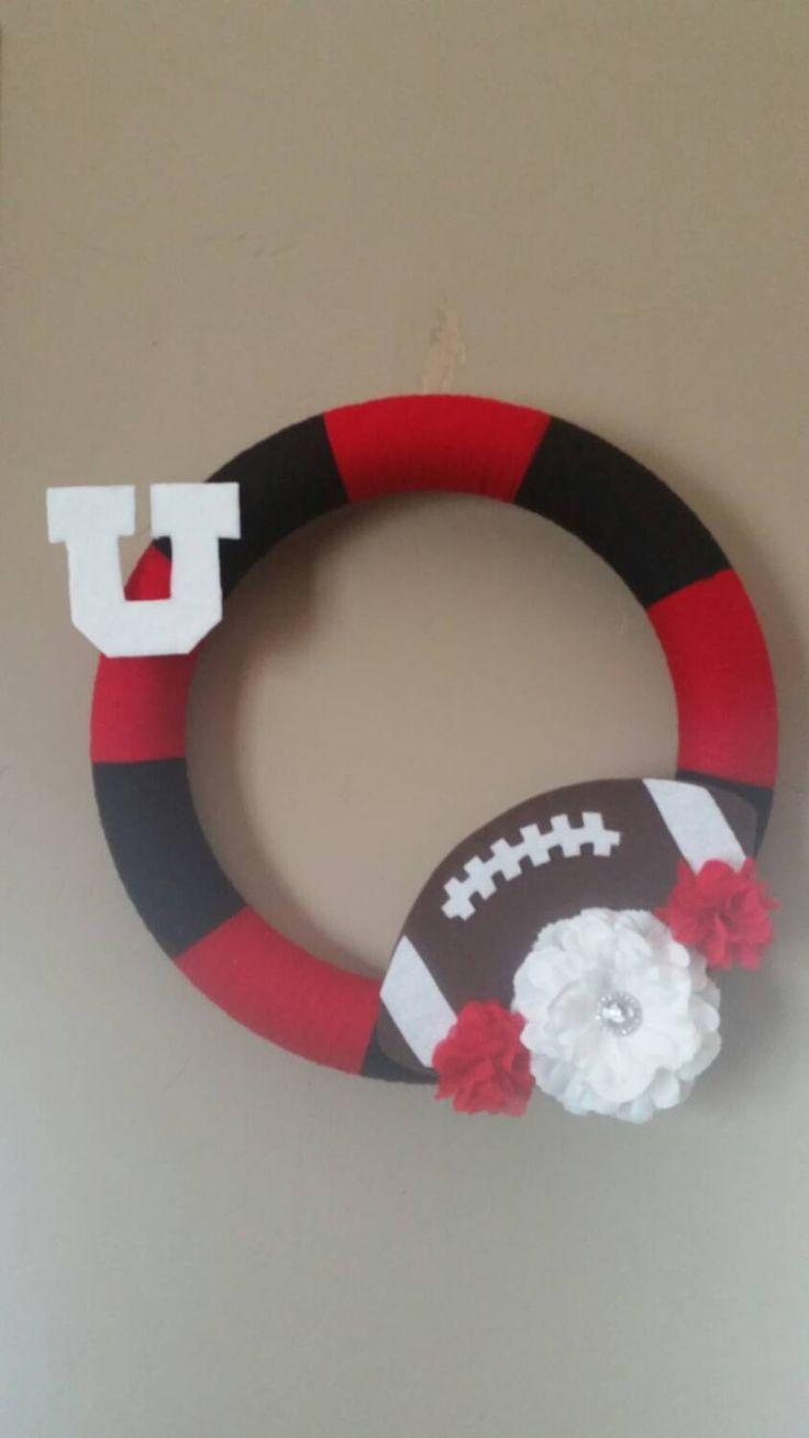"""SALE! Utah Utes Football Wreath 16"""" Diameter by KraftKonnection on Etsy"""