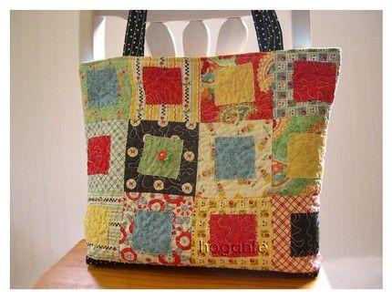 MARY ENGELBREIT ME Quilted Modern Patchwork Diaper Market Bag With 3 Interior Pockets Patchwork Straps and Firm Bottom Base Rag ZANY squares | Hoganfe Handmade Handbag Originals