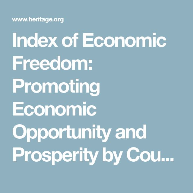Index of Economic Freedom: Promoting Economic Opportunity and Prosperity by Country