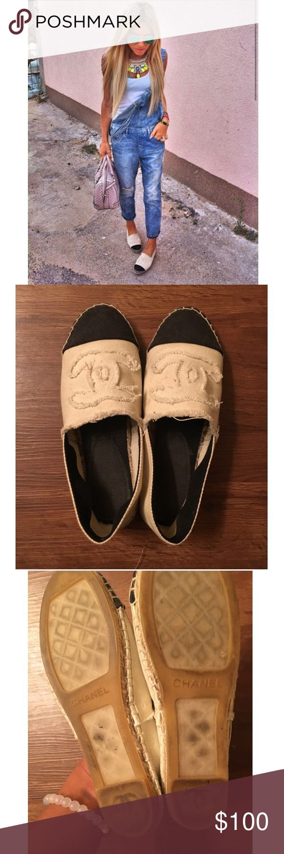 Chanel Espadrilles Really cute shoes that can be worn with many outfits. Price is low hence the authenticity. Comes with box and dust bags. Real shoes would retail over $700. No Trades. Price is negotiable. A little dirty not too bad can't really tell. CHANEL Shoes Espadrilles
