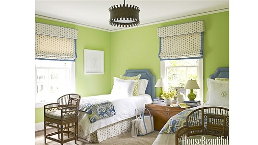 "Cheerful Green - HouseBeautiful  Designer Lindsay Coral Harper gave a more youthful and upbeat appearance to a dated 1940s suburban house in Charlotte, North Carolina. She painted the guest room a vibrant color, Benjamin Moore's Stem Green. ""It immediately made this simple little space so happy,"" she says."