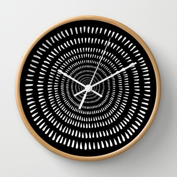 Dive into the hypnotic design of our Time Warp Wall Clock. Framed with natural wood, it has a plexiglass crystal face and a backside hook for hanging. But don't let its mesmerizing face distract you fr...  Find the Time Warp Wall Clock, as seen in the Scandinavian Modern Living Collection at http://dotandbo.com/collections/scandinavian-modern-living?utm_source=pinterest&utm_medium=organic&db_sku=SO60681