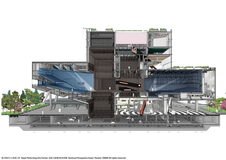 Architecture  Sectional  Perspective  Drawing  Render