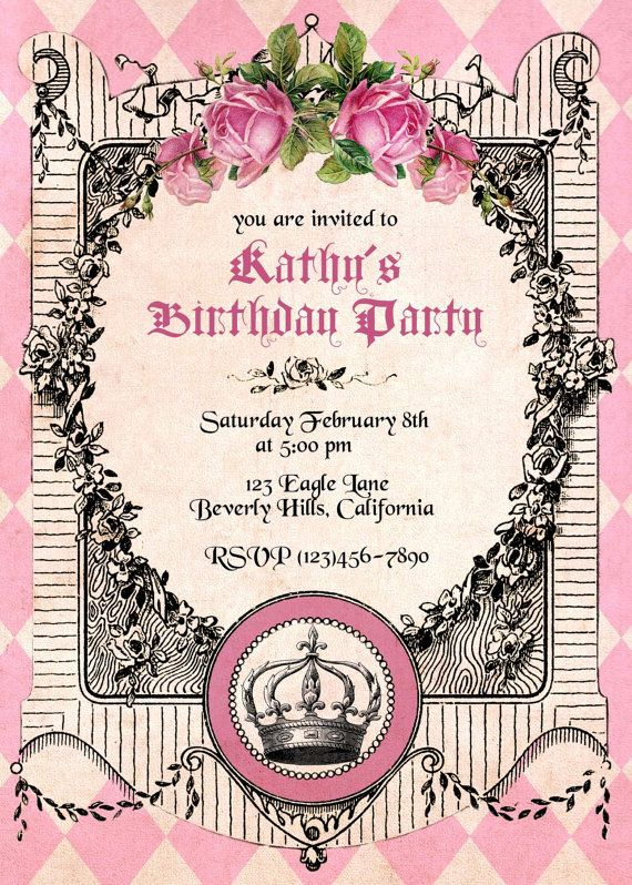 Princess Birthday Invitation Royal Invitations For Girls Printable