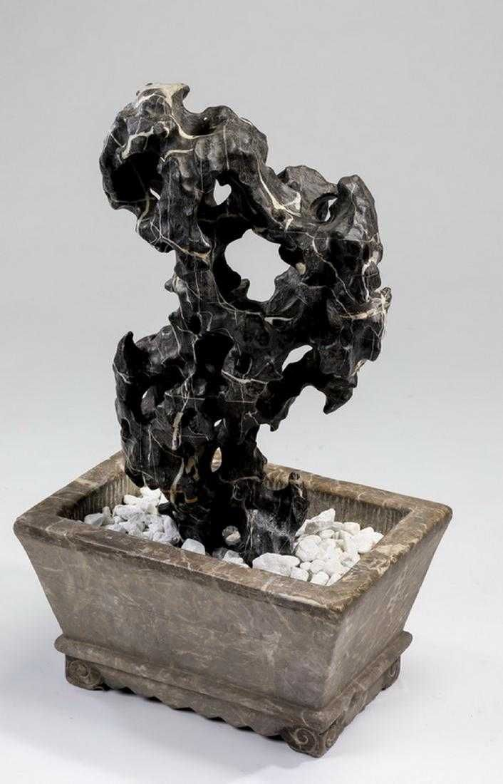 Chinese scholar's rock w/ marble jardiniere