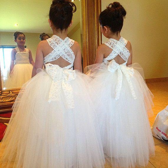 Lace flower girl dress sleevless ball gown dress/ party dress/communion dress/tea length/tutu dress