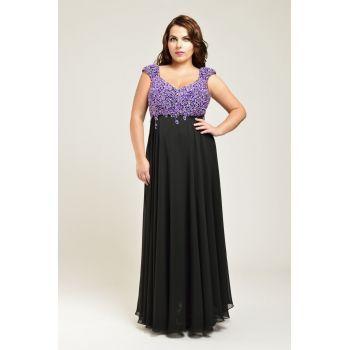 Rochie lunga de seara, rafinata, de culoare neagra, decorata cu strasuri mov. Este decoltata in V, atat in fata cat si la spate, are bretele late care acopera umerii, iar bustul este acoperit in intregime cu strasuri delicate, in nuante de violet. Fusta este lunga, neagra si cade in falduri. Este o rochie eleganta si rafinata, potrivita doamnelor cu forme generoase, care poate fi purtata ca tinuta de nasa sau de soacra.