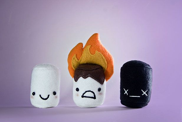 Plush Marshmallows, look at the burnt one!