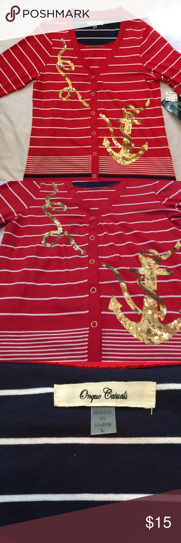 Nautical cardigan with 3/4 sleeves, red & sequins This is a new with tags nautical cardigan. It's red with cream stripes and gold sequin anchors. The sleeves are 3/4 length. Tops