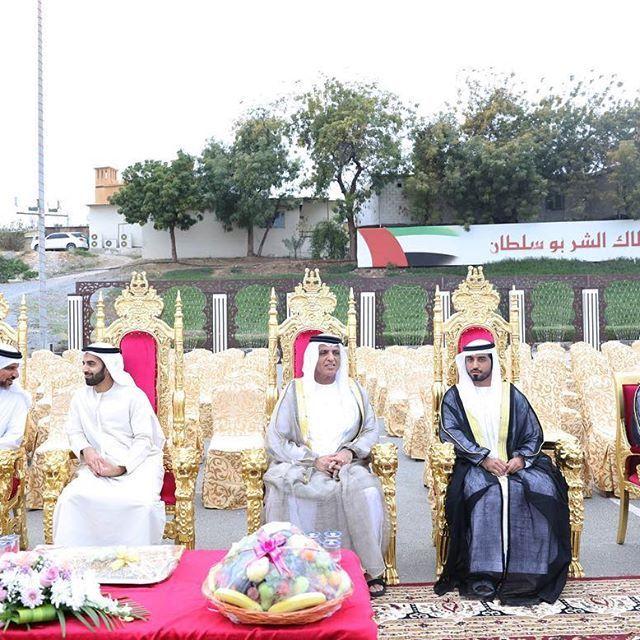 فبراير 2018: سعود بن صقر ومحمد بن سعود يحضران حفل زفاف يحيى صالح عبيد بن جابر الزعابي.