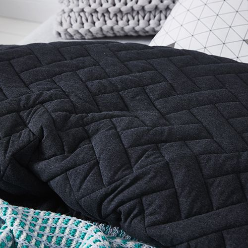 Hunter Jersey Quilted Coal Quilt Cover Set