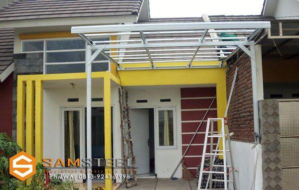 contoh atap baja ringan rumah minimalis 0813 9243 9998 tsel kanopi citraland bsb