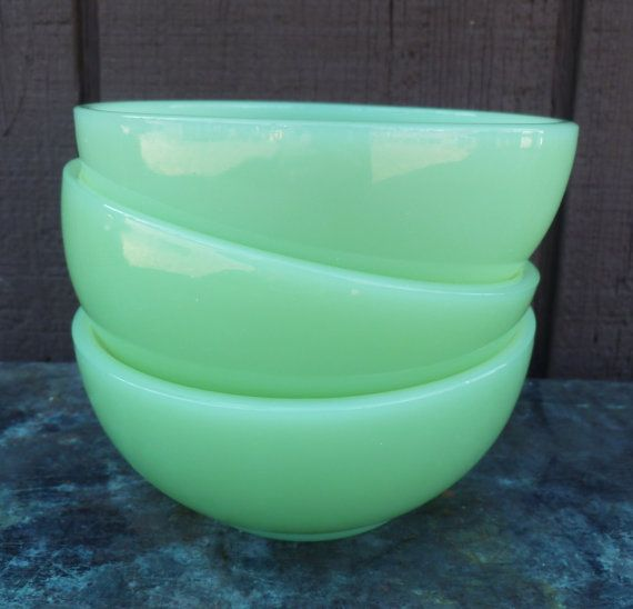 Fire King jadeite bowls - all of my pieces are original, vintage kitchenware. I inspect items and do not collect fake, repro pieces