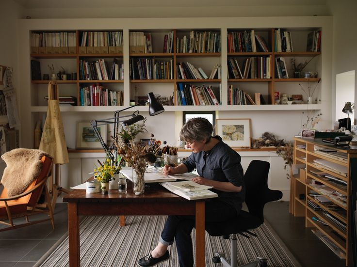 Angie Lewin working in her studio on Speyside. Photograph by Cristian Barnett. http://www.angielewin.co.uk