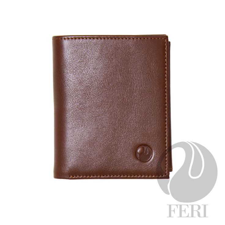 - Small brown wallet - Made from high grade leather - Double fold closure with snap - 3 Transparent windows for ID or photos - 5 Credit card slots - 1 Bill compartment - Change pocket with snap closure - 2 hidden compartments - Lined with customized FERI lining - Embossed with FERI Swan  Width: 9 cm Height: 11.5 cm