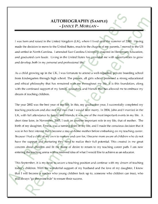 Teacher Autobiography Sample Curriculum Teacher And