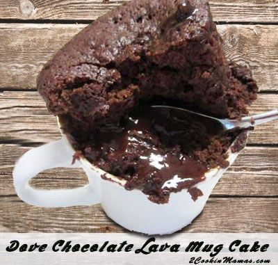 Dove Chocolate Lava Mug Cake, only use 2 T. cocoa, and I used lindt chocolate balls, 40 seconds to cook