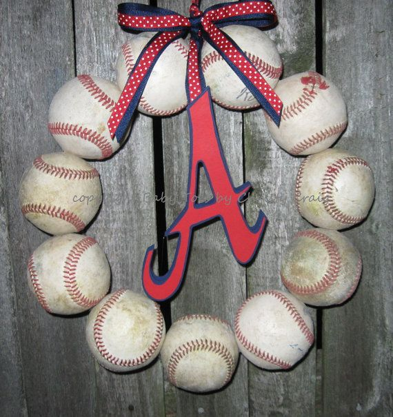 The Original Atlanta Braves Baseball Love Wreath by 1BabyToes1, $59.00