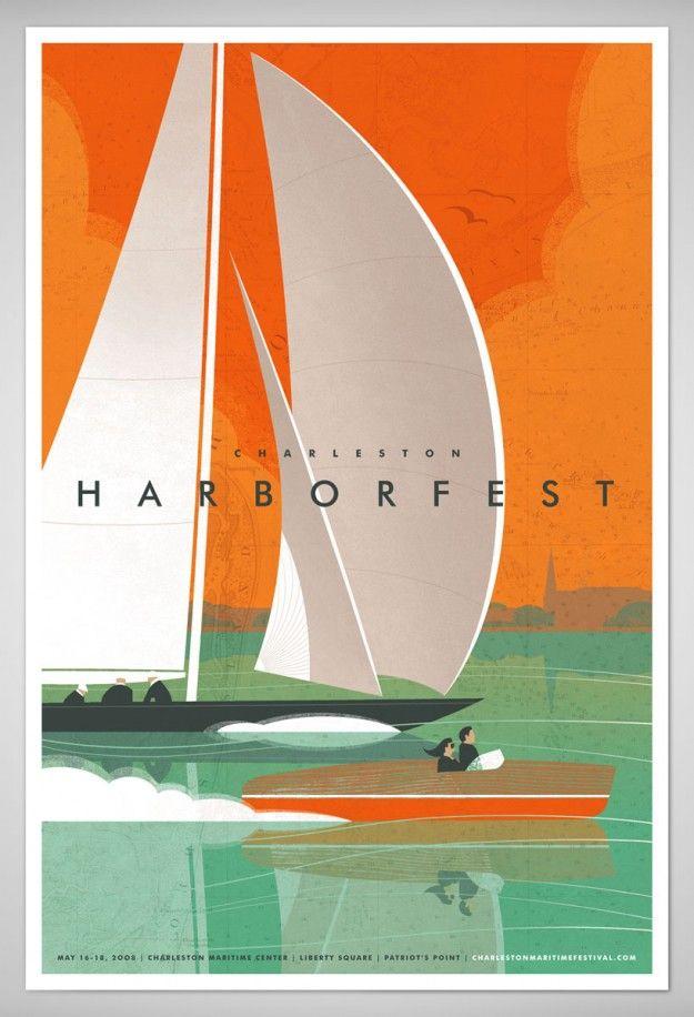 poster design, digital illustrationHarbor Fest, Charleston Sc, Fletcher Design, Harborfest, Posters Design, Colors Palettes, Graphics Design, Design Art, Design Posters