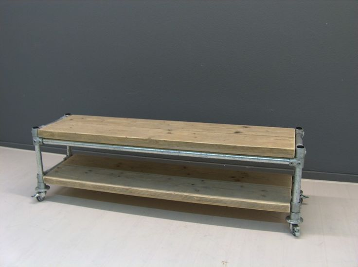 Tv meubel van oud steigerhout met steigerbuis onderstel (22131536)