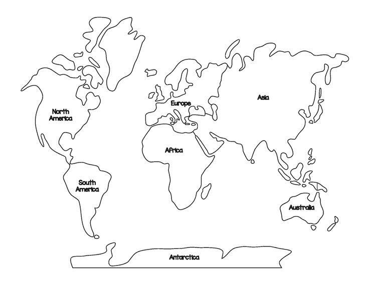 ausmalbild kontinente  world map coloring page free