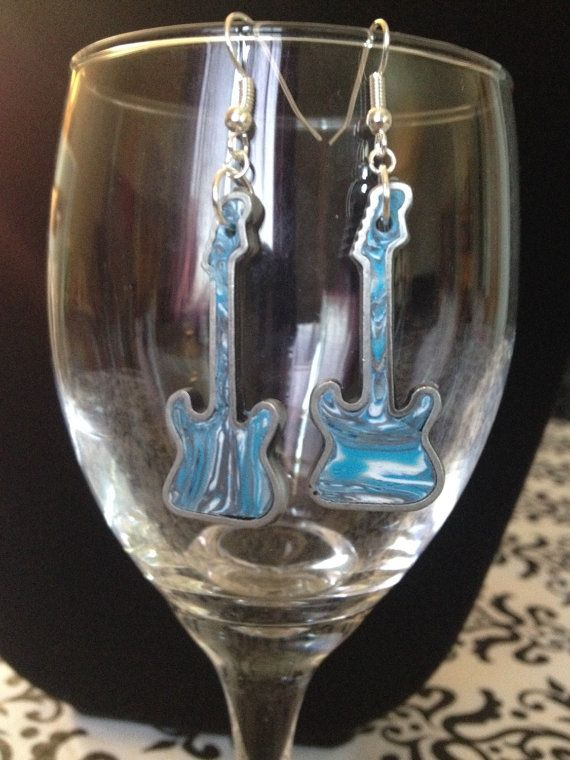 Blue green guitar shaped earrings handmade by Felicianation, perfect gift for musicians and music lovers!