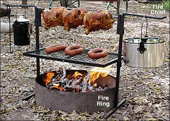 Ren-Shire Ideas: Outdoor cooking area Grill Grate setup for Fire Pit
