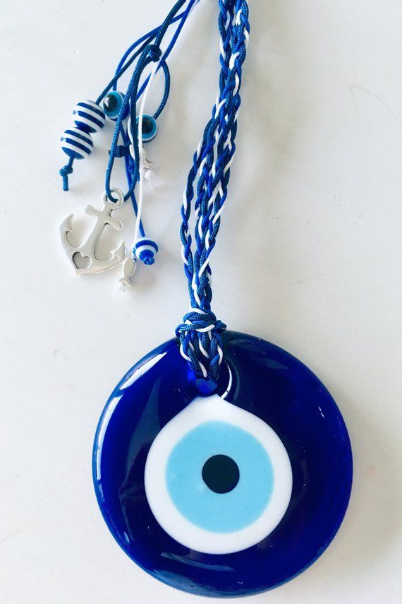 SET OF 50 1 1//2 INCH ROUND BLUE GLASS EVIL EYE NAZAR BONCUGU GOOD LUCK AMULET